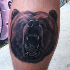 Not only dogs, cats but also other wild mammals can be seen as popular animal tattoo ideas. Below, we are going to mention angry bear tattoo designs and ideas. Angry Bear, Angry Face, Program Design, Mammals, Tattoo Designs, Tattoos, Cats, Black, Tatuajes
