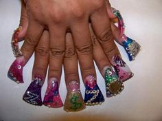 Duck feet nails. I can't believe people are actually doing this.. so dumb looking