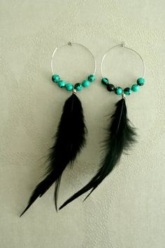 Real Feather Earrings Turquoise