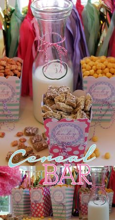 cereal bar, sip and see, baby brunch, baby shower, stickers, baby shower decor, sip and see decor via Party Box Design