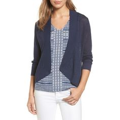 Women's Tommy Bahama Lea Linen Cardigan ($98) ❤ liked on Polyvore featuring tops, cardigans, ocean deep, cardigan top, tommy bahama, linen tops, open front cardigan and open cardigan