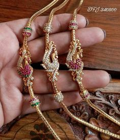 One gram gold Mugappu chains( thali chains ) with Side pendent Gold Mangalsutra Designs, Gold Earrings Designs, Gold Chain Design, Gold Jewellery Design, Peacock Jewelry, Beaded Jewelry, Gold Jewelry Simple, Jewelry Collection, Fashion Jewelry