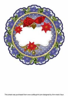 Blue Red Christmas Poinsettia Doily Card Insert Panel on Craftsuprint - Add To Basket! Christmas Poinsettia, Red Christmas, Bottle Cap Images, Bottle Caps, Christmas Decoupage, Circle Shape, Paper Quilling, Christmas Printables, Xmas Cards