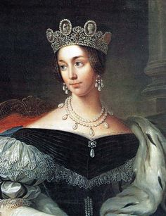 Portrait of Queen Josephine of Sweden and Norway, 1837, Fredric Westin - Josephine Bonaparte's granddaughter wearing her Cameo Crown, which is now part of the royal jewels of Sweden.