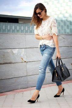 Maglia mesh e skinny jeans