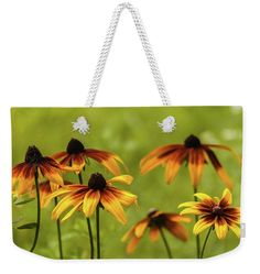 Anna Matveeva Weekender Tote Bag featuring the photograph Garden Flowers Yellow by Anna Matveeva                #AnnaMatveeva #flowers #Bag #Sunset #FineArtPhotography #ArtForHome #FineArtBag #Pixels