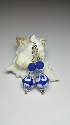 Porcelain Beaded Earrings, Blue White Earrings, Silver Handmade Costume Jewellery, Under 20 Gift, Gift for Her, Birthday Gift Idea by KlaassyArts on Etsy https://www.etsy.com/listing/465932680/porcelain-beaded-earrings-blue-white