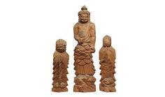 Enku's 'Standing Fudo Myo'o (Acala) with two child attendants' (Edo Period) | SENKOJI TEMPLE