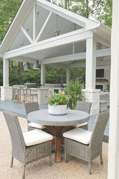 Kitchen and Pool House Project Reveal Outdoor kitchen and pool house pavilion.Outdoor kitchen and pool house pavilion. Outdoor Pergola, Outdoor Rooms, Outdoor Furniture Sets, Outdoor Decor, Adirondack Furniture, Outdoor Kitchens, Pergola Kits, Wooden Furniture, Pool Gazebo