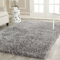 Safavieh New Orleans Shag Collection SG531-8080 Grey Polyester Area Rug, 5 feet by 8 feet (5' x 8')