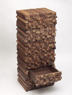"Beautiful wood pixely dresser. Boris Dennler, ""Wooden Heap"""