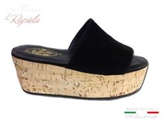 ► Zeppe Donna Basse   Zeppe in Pelle Nera   LA RAPIDA Cork Wedges, Ciabatta, Shoes, Style, Fashion, Wedges, Elegant, Women's, Swag