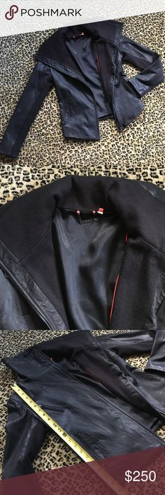 AMAZING DOMA GENUINE LEATHER AND WOOL JACKET SZ S Celebrity favorite brand Doma leather jacket. Brand new, without tags and has never been worn! 100 percent real leather and wool with gunmetal hardware and pocket designs. Too many leather jackets in my closet- this is a steal for some lucky lady! Would fit a SZ 0-4. doma Jackets & Coats