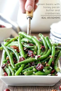 GREEN BEANS WITH HONEY PECAN BUTTER AND CRANBERRIES are the perfect balance of crunchy, tangy and sweet that you will want to eat year round!