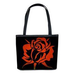 Red Rose Etching On Black Bucket Bag