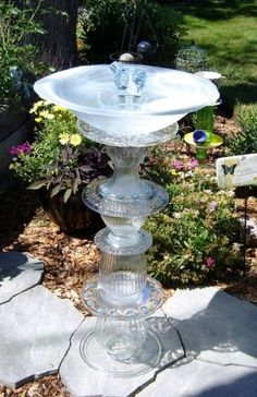 bird bath out of glassware.  I really need to make one of these.