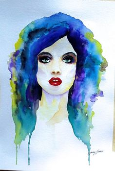 """Woman ilustration original watercolor painting 9""""x12"""" by LimonArtStudio on Etsy"""