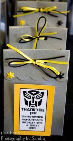 Transformers Birthday Party- The Party Favors
