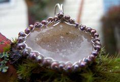 Tabasco Geode Druzy  sterling silver wire wrap by JPGemJewels, $108.00