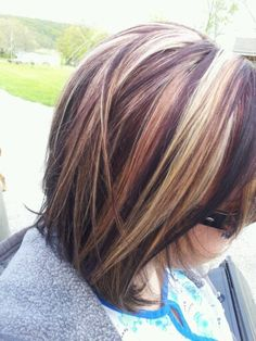 Dark brown with red and blonde highlights. I like this but not with chunky highlights.