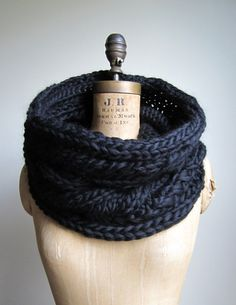 Oversized Cable knit cowl Black Infinity scarf by Happiknits
