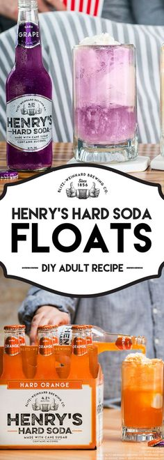 Quick-And-Easy Henry's Hard Soda Floats I. Place two scoops of vanilla ice cream in a highball glass or mug of your choosing. II. Add a splash of Henry's Hard Orange Soda or Grape Soda. III. In no time, you'll be bringing all the neighbors to the yard with this DIY Henry's Hard Soda Floats recipe. #LiveHardish