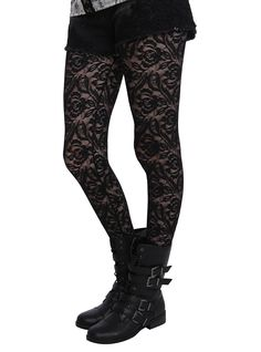 Black floral lace fishnet tights from LOVEsick.<ul><li> One size fits most</li><li>97% nylon; 3% spandex</li><li>Hand wash cold; dry flat</li><li>Imported</li></ul>