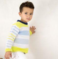 Ce modèle est un classique pour les enfants. Un modèle de pull rayé tricoté en ' Phil Noé ' coloris blanc, perle, ciel, citron, marine au point jersey rayé, côtes 2/2.Modèle n°07 du catalogue N°131 : Enfant, Printemps/été 2016
