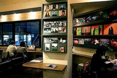 built in shelf with diff color backgrounds - awesome-coffee-shop-interior-design-idea