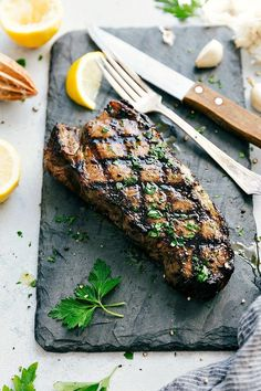 The BEST EVER Grilled Steak Marinade plus tips for grilling the best steak ever! I from chelseasmessyapron.com