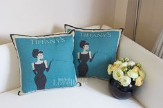 Breakfast at Tiffany's Audrey Hepburn linen cushion pillow cover sofa bedroom sitting room adornment on Etsy, $16.99