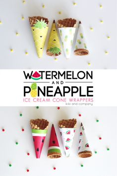 Free Printable - Watermelon and Pineapple Ice Cream Cone Wrappers. Fun summer treat idea.