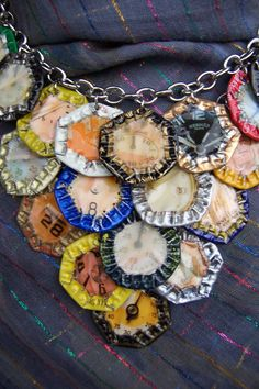 "OOAK -Green Motif-  Upcycled Magazine Collage and Beer Cap Motif on Chain Necklace ""Beer Time"". $80.00, via Etsy."