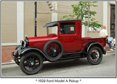 1928 Ford Model A pick-up truck with the correct black tires and not the over restored white wall tires etc. These were working trucks. What a beaut!
