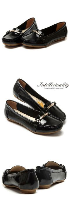 Women's #black genuine leather slip on #balletflat shoes