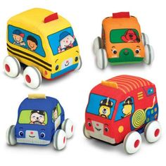 Melissa & Doug 9168 000772091688 Melissa & Doug K's Kids Pull-Back Vehicle Set - Soft Baby Toy Set With 4 Cars and Trucks and Carrying Case Toddler Gifts, Toddler Toys, Gifts For Kids, Kids Toys, Baby Gifts, Children's Toys, Toddler Daycare, Pixar, Best Baby Toys