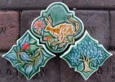 Hand carved art tiles and vessels. Azulejos Art Nouveau, Art Nouveau Tiles, Art Nouveau Design, Design Art, Art Deco, Ceramic Wall Art, Tile Art, Mosaic Art, Mosaics