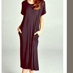 ‼️ IN STOCK! ‼️ Maxi Pocket Midi NWOT Black pocket maxi! NWOT. 2S 2M 2L linsleppo2 Dresses Midi