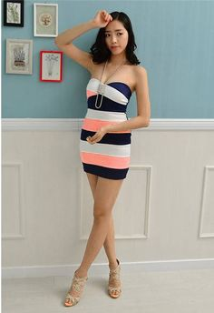 Color Contrast Slim Fit Strapless Bandage Styled Dress via Sales Edge. Click on the image to see more!