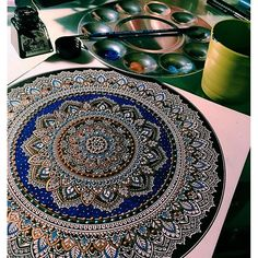 draw, art, and colors image Mandala Drawing, Mandala Painting, Dot Painting, Mandala Art, Painting & Drawing, Pottery Painting, Mehndi, Circle Art, Illustrations