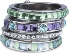 Seascape - Ring with 4 Stacked Crystal Layers