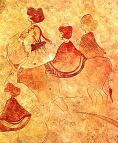 Detail of Tassili rock paintings dating from about 3000 BC relating a probably lost civilization in what was known as the Green Sahara