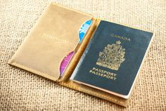 Passport Wallet Chestnut Brown Leather Mens by PopovLeather, $40.00