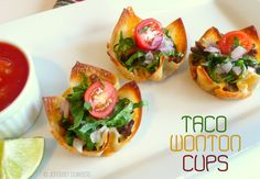 Joyously Domestic: Fiesta Taco Wonton Cups