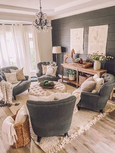 homedecor Dark Contrast Wall Sitting Room Refresh - Life by Leanna Formal Living Rooms, Home Living Room, Living Room Designs, Chairs For Living Room, Spare Living Room Ideas, Living Room Country, Farmhouse Living Room Decor, Living Room Zones, Cottage Style Living Room