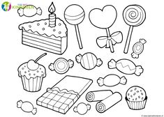 Find Coloring Book Candy Cakes Vector Illustration stock images in HD and millions of other royalty-free stock photos, illustrations and vectors in the Shutterstock collection. Thousands of new, high-quality pictures added every day. Candy Coloring Pages, Cupcake Coloring Pages, Printable Coloring Pages, Coloring Pages For Kids, Adult Coloring, Coloring Books, Online Coloring, Cake Vector, Girl Scout Activities