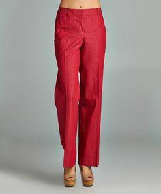 Look at this #zulilyfind! Red Velvet Wide-Leg Pants #zulilyfinds