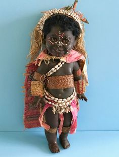 "Vintage 1970's 13"" Black Metti Doll PNG Papua New Guinea Australia"