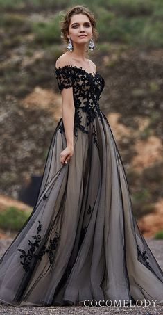 e9e5124ac6 CocoMelody Wedding Dresses 2019. Black off the shoulder lace and tulle ball  gown wedding dress princess bridal