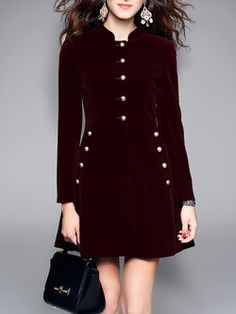 Burgundy Stand Collar A-line Simple Plain Mini Dress